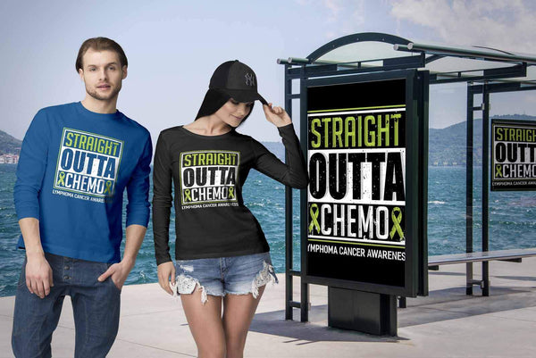 Straight Outta Chemo Lymphoma Awareness Lime Green Ribbon Gift Ideas Long Sleeve-T-shirt-JoyHip.Com