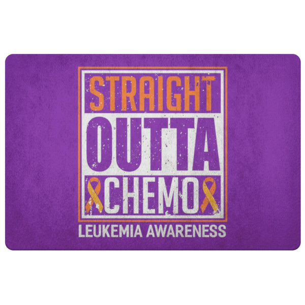 Straight Outta Chemo Orange Leukemia Cancer 18X26 Thin Indoor Door Mat Entryway-Doormat-Purple-JoyHip.Com