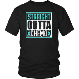 Straight Outta Chemo Teal Ribbon Ovarian Cancer Awareness PCOS T-Shirt-T-shirt-District Unisex Shirt-Black-JoyHip.Com