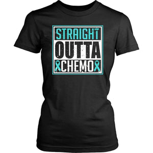 Straight Outta Chemo Teal Ribbon Ovarian Cancer Awareness PCOS T-Shirt-T-shirt-District Womens Shirt-Black-JoyHip.Com
