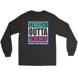 Straight Outta Chemo Thyroid Cancer Awareness Teal Pink Blue Ribbon Long Sleeve-T-shirt-Gildan Long Sleeve Tee-Black-JoyHip.Com