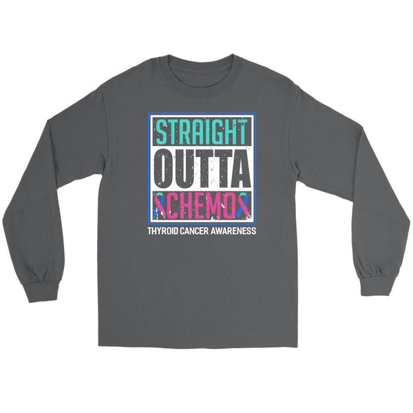 Straight Outta Chemo Thyroid Cancer Awareness Teal Pink Blue Ribbon Long Sleeve-T-shirt-Gildan Long Sleeve Tee-Grey-JoyHip.Com