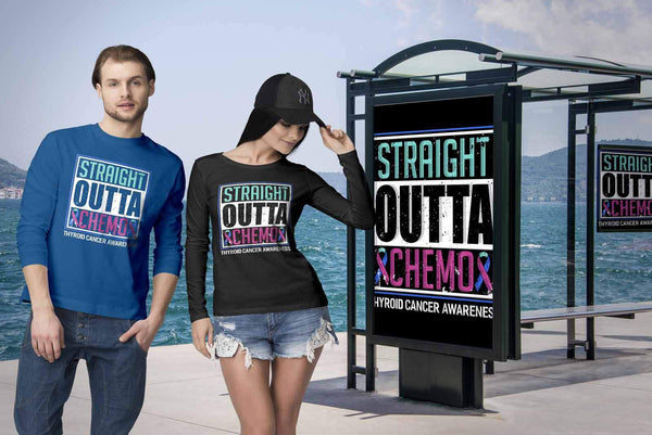 Straight Outta Chemo Thyroid Cancer Awareness Teal Pink Blue Ribbon Long Sleeve-T-shirt-JoyHip.Com