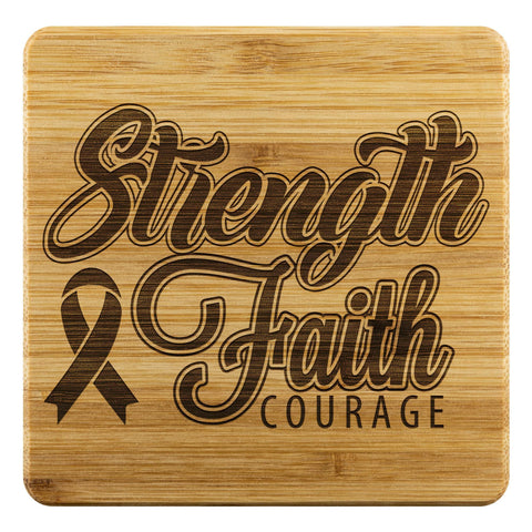Strength Faith Courage Cool Drink Coasters Set Gifts Idea-Coasters-Bamboo Coaster - 4pc-JoyHip.Com