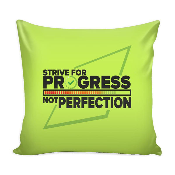 Strive For Progress Not Perfection Inspirational Motivational Quotes Decorative Throw Pillow Cases Cover(9 Colors)-Pillows-Green-JoyHip.Com