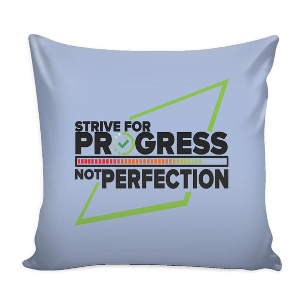 Strive For Progress Not Perfection Inspirational Motivational Quotes Decorative Throw Pillow Cases Cover(9 Colors)-Pillows-Grey-JoyHip.Com