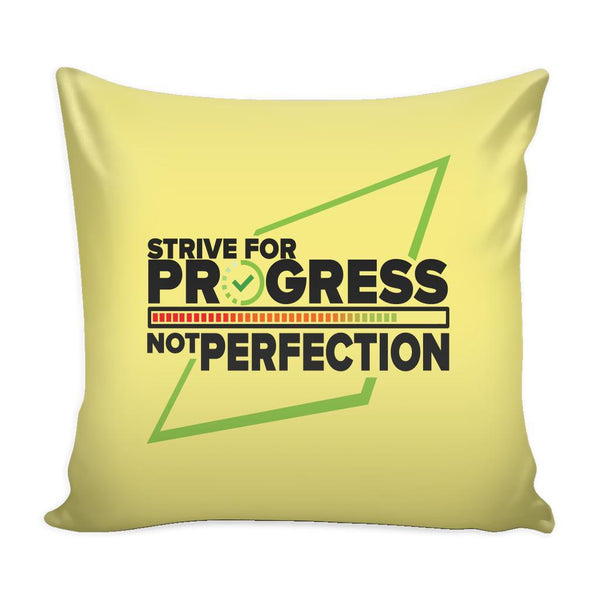 Strive For Progress Not Perfection Inspirational Motivational Quotes Decorative Throw Pillow Cases Cover(9 Colors)-Pillows-Yellow-JoyHip.Com