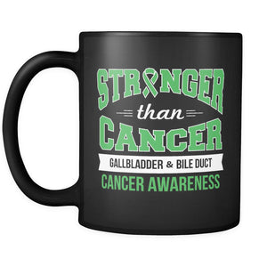 Stronger Than Cancer Gallbladder & Bile Duct Cancer Awareness Kelly Green Ribbon Black 11oz Coffee Mug-Drinkware-Gallbladder Bile Duct Cancer Awareness Black 11oz Coffee Mug-JoyHip.Com