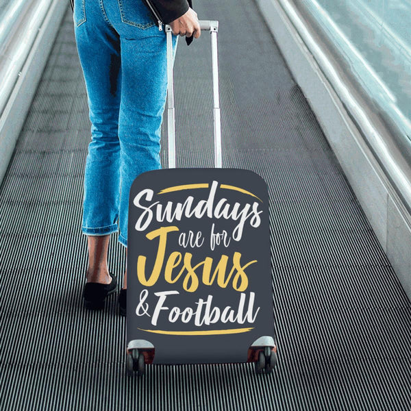 "Sundays Are For Jesus & Football Christian Travel Luggage Cover Suitcase 18""-28""-JoyHip.Com"