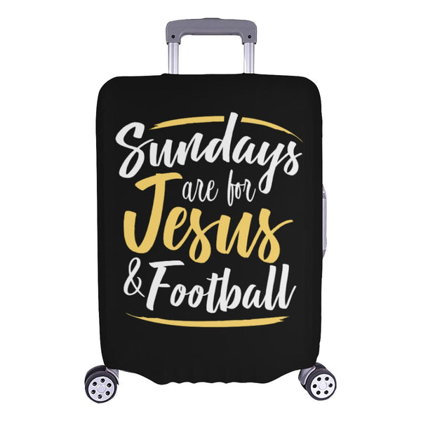 "Sundays Are For Jesus & Football Christian Travel Luggage Cover Suitcase 18""-28""-L-Black-JoyHip.Com"