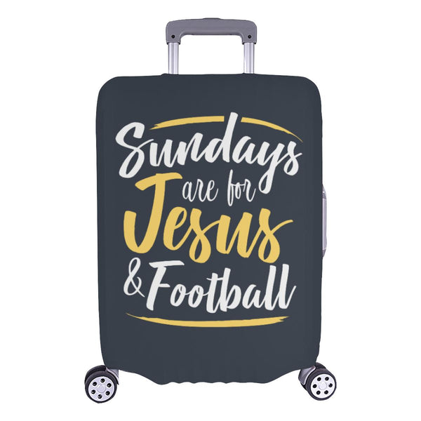 "Sundays Are For Jesus & Football Christian Travel Luggage Cover Suitcase 18""-28""-L-Grey-JoyHip.Com"