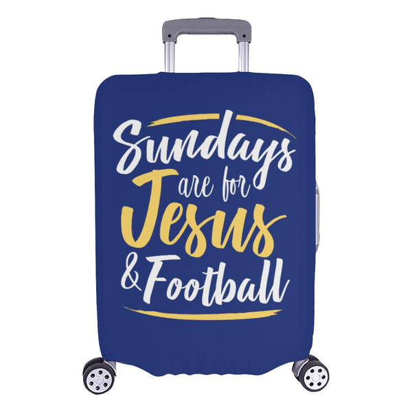 "Sundays Are For Jesus & Football Christian Travel Luggage Cover Suitcase 18""-28""-L-Navy-JoyHip.Com"
