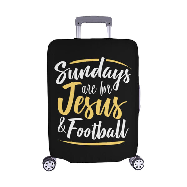 "Sundays Are For Jesus & Football Christian Travel Luggage Cover Suitcase 18""-28""-M-Black-JoyHip.Com"