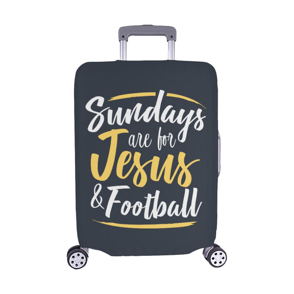 "Sundays Are For Jesus & Football Christian Travel Luggage Cover Suitcase 18""-28""-M-Grey-JoyHip.Com"