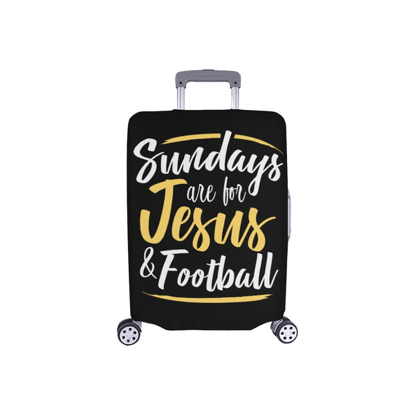 "Sundays Are For Jesus & Football Christian Travel Luggage Cover Suitcase 18""-28""-S-Black-JoyHip.Com"