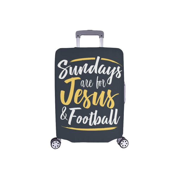 "Sundays Are For Jesus & Football Christian Travel Luggage Cover Suitcase 18""-28""-S-Grey-JoyHip.Com"