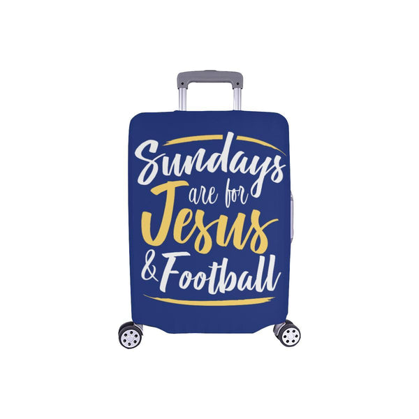"Sundays Are For Jesus & Football Christian Travel Luggage Cover Suitcase 18""-28""-S-Navy-JoyHip.Com"