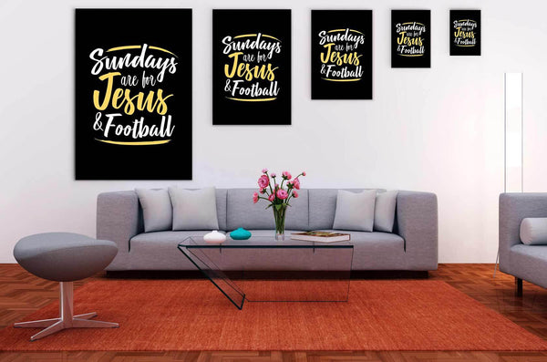 Sundays Are For Jesus & Football Funny Cute Christian Canvas Wall Art Room Decor-Canvas Wall Art 2-JoyHip.Com