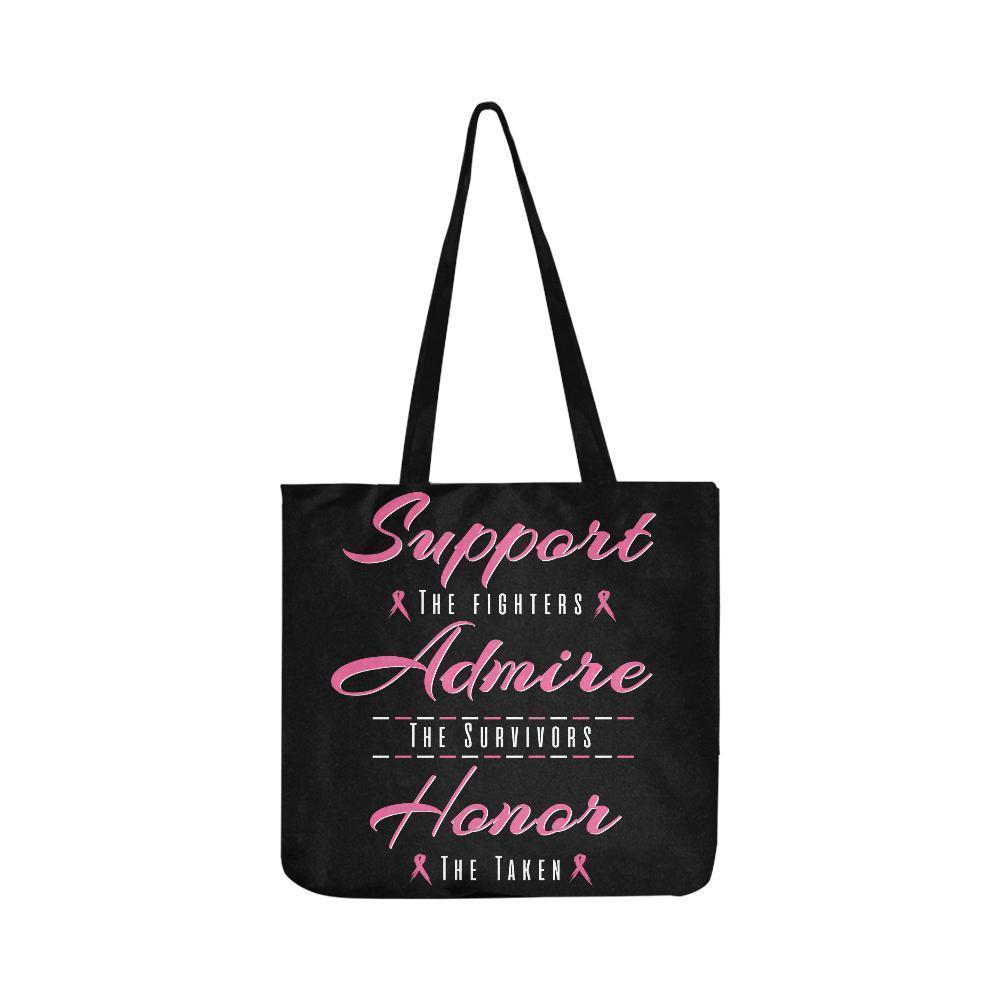 Support Fighters Admire Survivors Honor Taken Breast Cancer Grocery Produce Bags-One Size-Black-JoyHip.Com