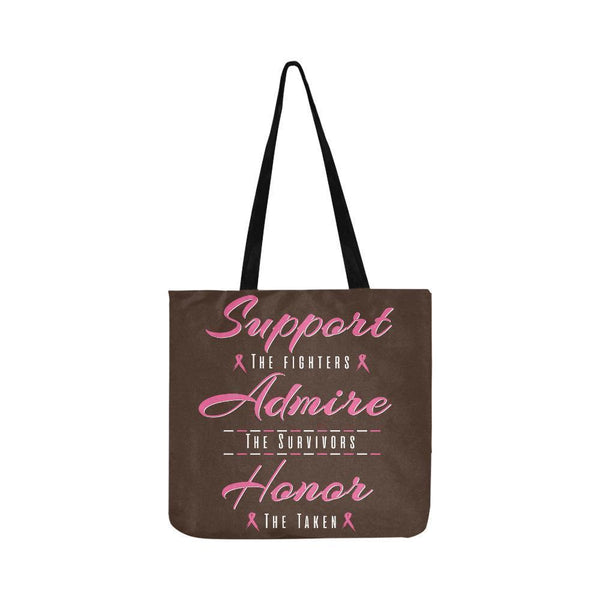 Support Fighters Admire Survivors Honor Taken Breast Cancer Grocery Produce Bags-One Size-Brown-JoyHip.Com