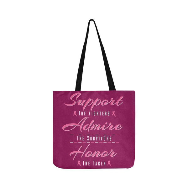 Support Fighters Admire Survivors Honor Taken Breast Cancer Grocery Produce Bags-One Size-Maroon-JoyHip.Com