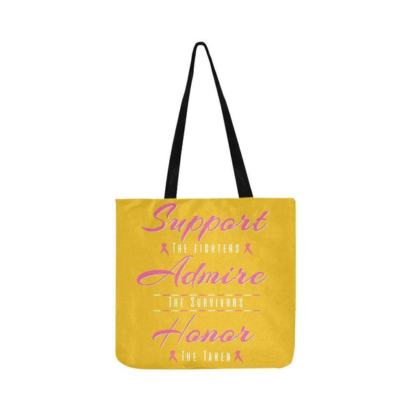 Support Fighters Admire Survivors Honor Taken Breast Cancer Grocery Produce Bags-One Size-Yellow-JoyHip.Com