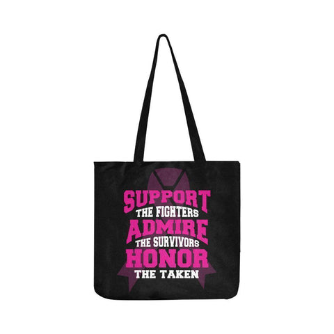 Support Fighters Admire Survivors Honor Taken Breast Cancer Reusable Produce Bag-One Size-Black-JoyHip.Com