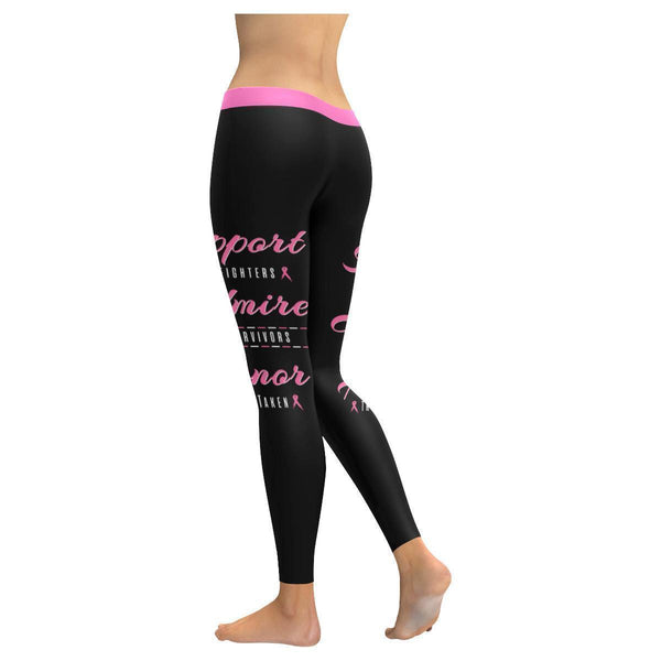 Support Fighters Admire Survivors Honor The Taken Breast Cancer Pink Leggings-JoyHip.Com
