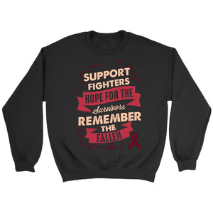 Support Fighters Hope Survivors Remember Fallen Multiple Myeloma Cancer Awareness Unisex Crewneck Sweatshirt-T-shirt-Crewneck Sweatshirt-Black-JoyHip.Com
