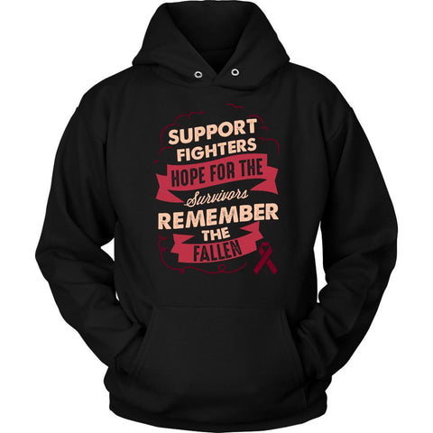 Support Fighters Hope Survivors Remember The Fallen Multiple Myeloma Cancer Awareness Hoodie For Men & Women-T-shirt-Unisex Hoodie-Black-JoyHip.Com