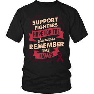 Support Fighters Hope Survivors Remember The Fallen Multiple Myeloma Cancer Awareness T-Shirt For Men & Women-T-shirt-District Unisex Shirt-Black-JoyHip.Com