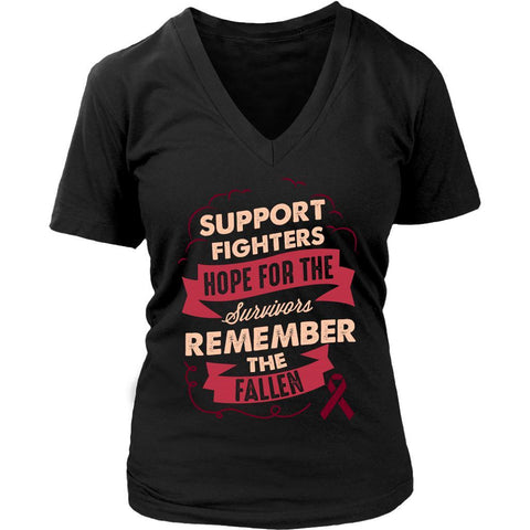 Support Fighters Hope Survivors Remember The Fallen Multiple Myeloma Cancer Awareness Women V-Neck T-Shirt-T-shirt-District Womens V-Neck-Black-JoyHip.Com