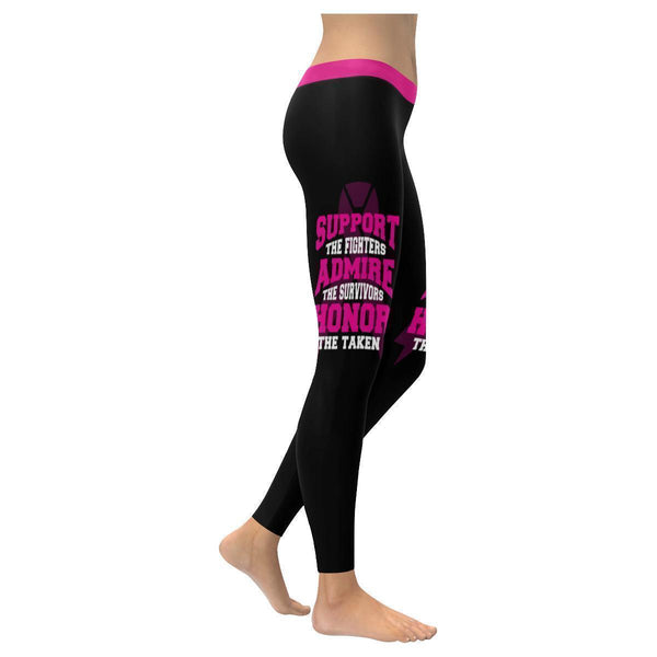Support The Fighters Admire The Survivors Honor The Taken Breast Cancer Leggings-XXS-Black-JoyHip.Com