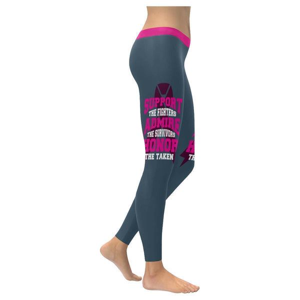 Support The Fighters Admire The Survivors Honor The Taken Breast Cancer Leggings-XXS-Grey-JoyHip.Com