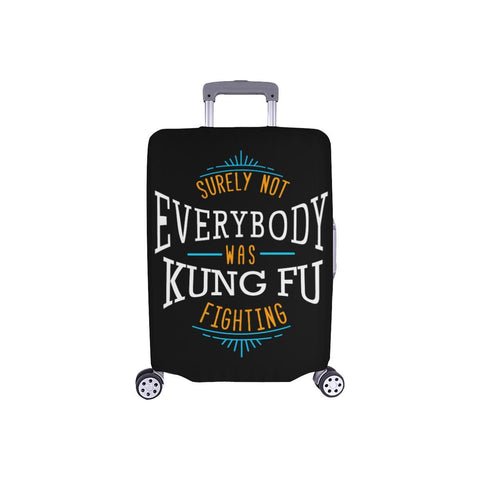 Surely Not Everybody Was Kung Fu Fighting Funny Travel Luggage Cover Protector-S-Black-JoyHip.Com