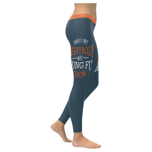 Surely Not Everybody Was Kung Fu Fighting Humor Gag Funny Quotes Womens Leggings-XXS-Grey-JoyHip.Com