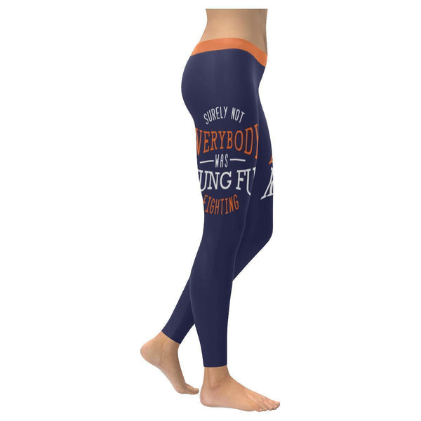 Surely Not Everybody Was Kung Fu Fighting Humor Gag Funny Quotes Womens Leggings-XXS-Navy-JoyHip.Com