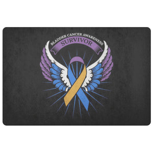 Survivor Blue Yellow Purple Angel Wing Bladder Cancer 18X26 Indoor DoorMat Entry-Doormat-Black-JoyHip.Com