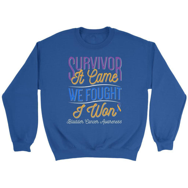 Survivor It Came We Fought I Won Bladder Cancer Awareness Gift Ideas Sweater-T-shirt-Crewneck Sweatshirt-Royal Blue-JoyHip.Com