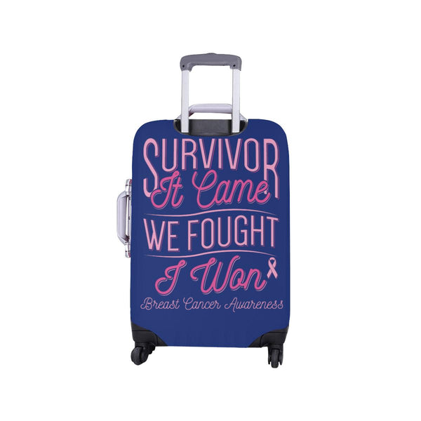 Survivor It Came We Fought I Won Breast Cancer Awareness Travel Luggage Cover-JoyHip.Com