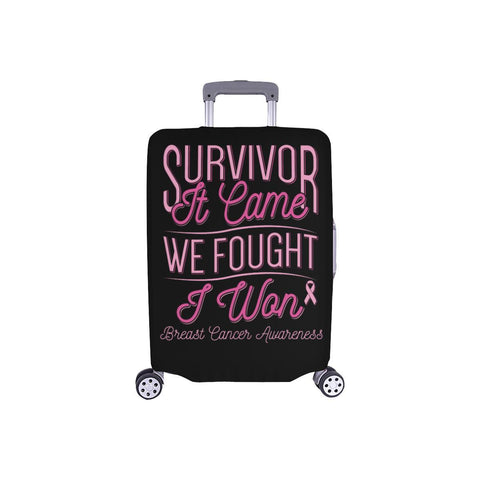 Survivor It Came We Fought I Won Breast Cancer Awareness Travel Luggage Cover-S-Black-JoyHip.Com