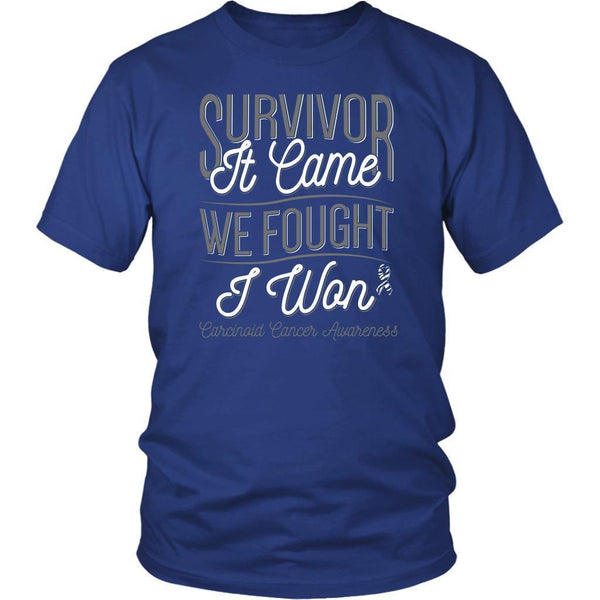 Survivor It Came We Fought I Won Carcinoid Cancer Awareness Gift Ideas TShirt-T-shirt-District Unisex Shirt-Royal Blue-JoyHip.Com