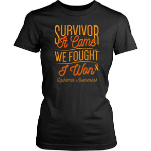 Survivor It Came We Fought I Won Leukemia Awareness Women T-Shirt-T-shirt-District Womens Shirt-Black-JoyHip.Com