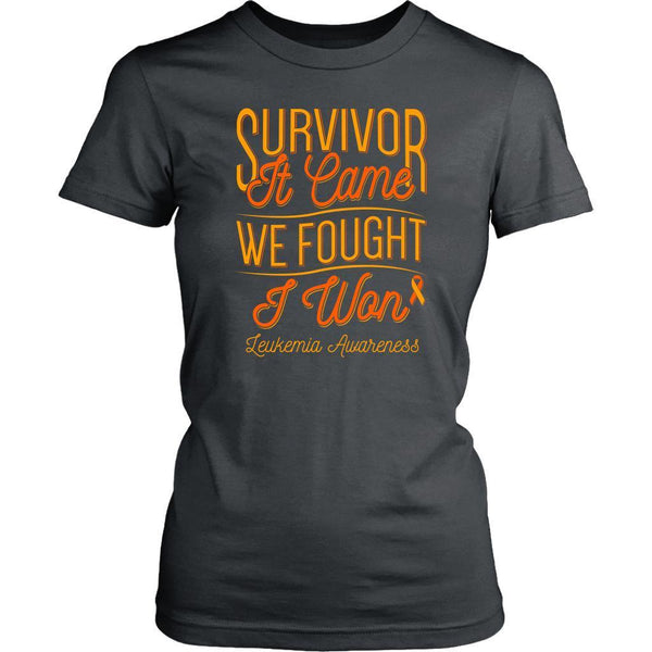 Survivor It Came We Fought I Won Leukemia Awareness Women T-Shirt-T-shirt-District Womens Shirt-Grey-JoyHip.Com
