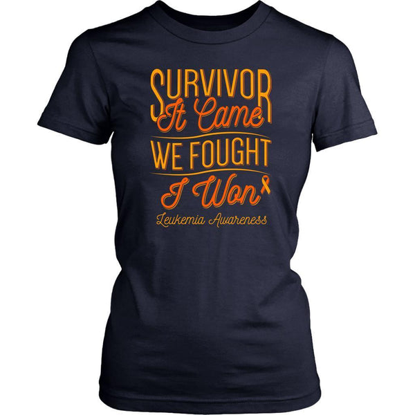 Survivor It Came We Fought I Won Leukemia Awareness Women T-Shirt-T-shirt-District Womens Shirt-Navy-JoyHip.Com