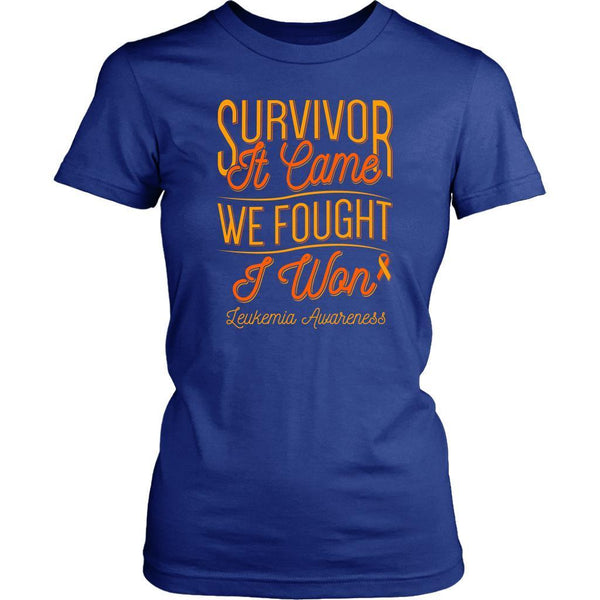Survivor It Came We Fought I Won Leukemia Awareness Women T-Shirt-T-shirt-District Womens Shirt-Royal Blue-JoyHip.Com