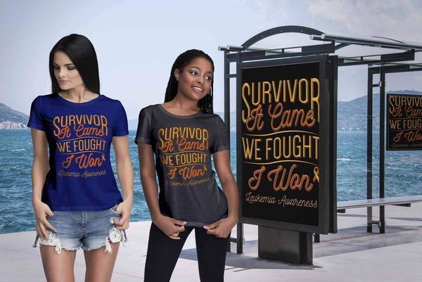 Survivor It Came We Fought I Won Leukemia Awareness Women T-Shirt-T-shirt-JoyHip.Com