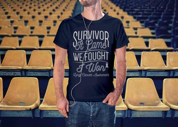 Survivor It Came We Fought I Won Lung Cancer Awareness Gift Ideas TShirt-T-shirt-JoyHip.Com