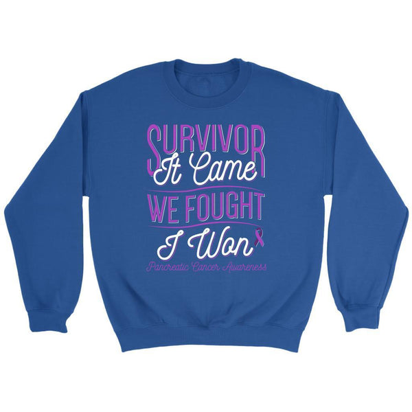 Survivor It Came We Fought I Won Pancreatic Cancer Awareness Gift Ideas Sweater-T-shirt-Crewneck Sweatshirt-Royal Blue-JoyHip.Com
