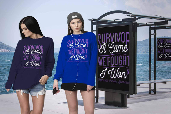 Survivor It Came We Fought I Won Pancreatic Cancer Awareness Gift Ideas Sweater-T-shirt-JoyHip.Com